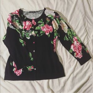 Black, pink and green floral cardigan size medium